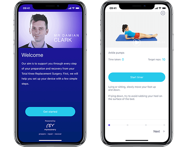 image of the myrecovery app displayed on 2 mobile phone devices showing the welcome and exercise screens used for physiotherapy and rehabilitation before and after knee surgery